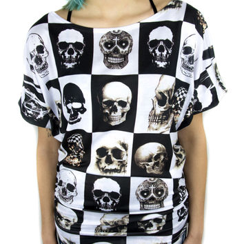 Oversized Skull Black & White Checkered Ruched Batwing Top Shirt