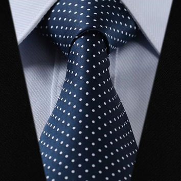 Navy Blue Paisley Tie with White Accent Design