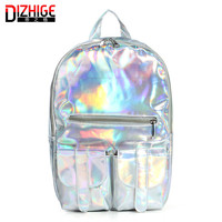 2016 Mochila Masculina backpack Women Silver Hologram Laser Backpack men's Bag leather Holographic Backpack Multicolor