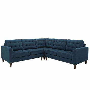Empress 3 Piece Upholstered Fabric Sectional Sofa Set, Azure