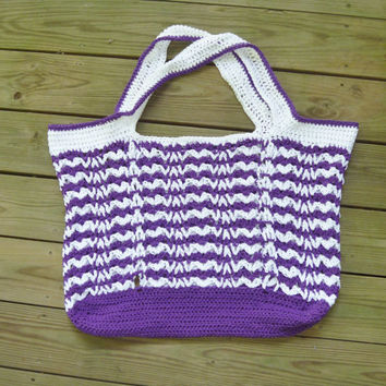Crochet Purple and White Striped Tote Bag/Beach Bag