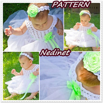Wedding,bridesmaid crochet / tulle dress 0-6 and 6-12 months set PATTERN
