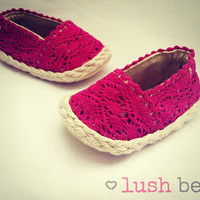 Rosa-pink lace handmade baby espadrilles 0-18 months cute beach summer baby girl shoes booties