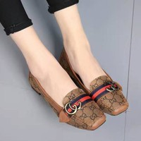 GUCCI Slip-On Women Fashion Leather Low-heel Shoes