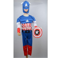 Captain America Muscle Halloween Costume Party Kids Comic Marvel boy roll play clothing