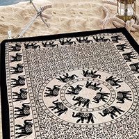 Elephant Black and white Mandala Hippie Hippy Bohemian Tapestry + 1 Free Pillow Cover Wall Hangings Throw Cotton Bedcover Ethnic Decorative Décor Dorm Wall Art