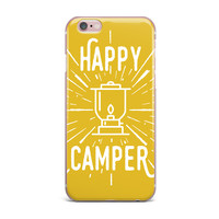 "Jackie Rose ""Happy Camper"" Yellow Typography iPhone Case"