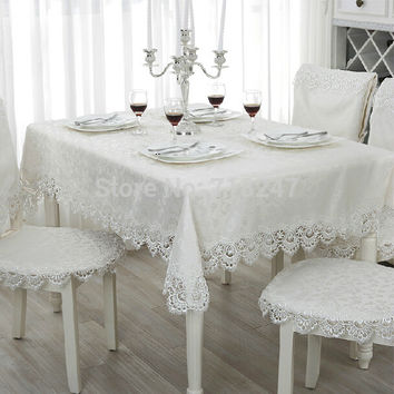 Hot Sale Elegant 100% Polyester Jacquard Lace Tablecloth For Wedding Party Home Table Linen Cloth Cover Textile Decoration 1038