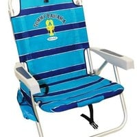 Tommy Bahama Relax Backpack Cooler Chair with Folding Towel Bar and Padded Shoulder Straps - Blue