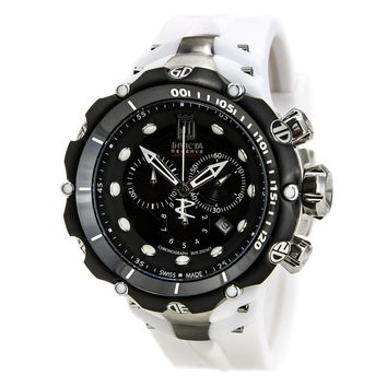 Invicta 14421 Men's Jason Taylor Reserve Black Dial White Rubber Strap Chronograph Dive Watch