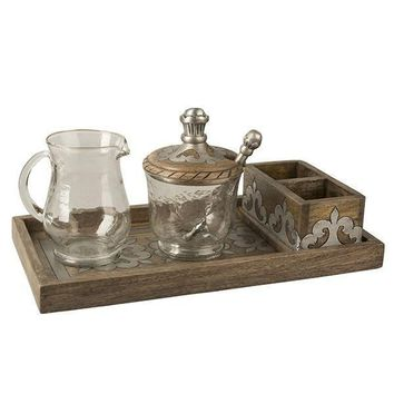 GG Collection Heritage Wood and Metal Inlay Cream and Sugar Set
