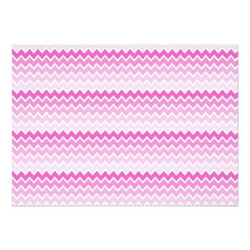 Hot Pink Ombre Chevron Zigzag Pattern 5x7 Paper Invitation Card