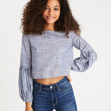 AEO Puff-Sleeve Striped Chambray Top, Light Blue