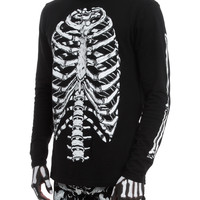 RUDE Black Skeleton Long-Sleeved Shirt