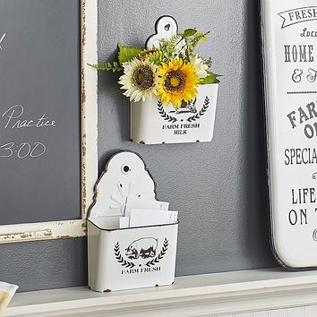 Distressed Farm Fresh Country Style White Enamelware Wall Bin -- 12-1/2-in