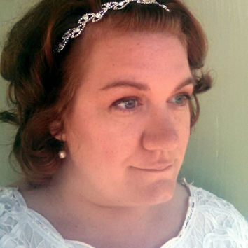 Headband - bridal, comb, rhinestone, crystal, veil, floral, wedding, tiara, head piece