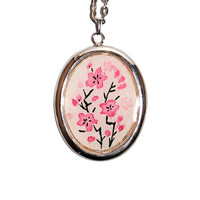 Cherry Blossoms Original Watercolor Painting Pendant Necklace