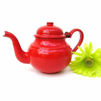Vintage Enamelware Teapot, Enamel Tea Pot, Orange Graniteware, Small Teapot