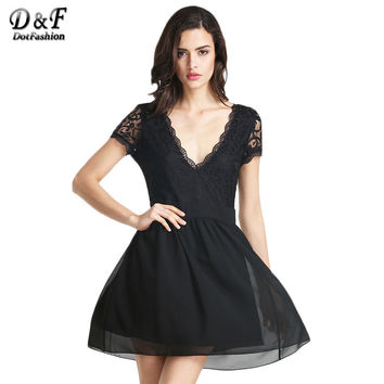 2016 New Arrival Womens Fashion Clothing Designer Classic Solid Black Deep V Neck Lace Pleated Dress