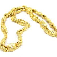 Gold Tone Choker Rhinestone Necklace 17 Inches Egyptian Revival Hign End Vintage Costume Jewelry Designer Runway Art Deco Nouveau Modernist