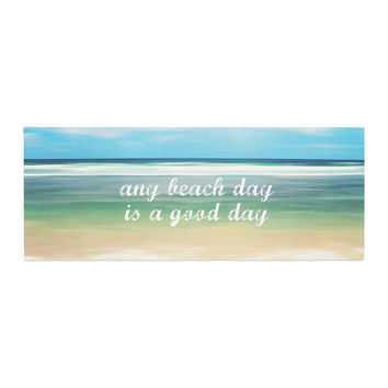 "Sylvia Cook ""Any Beach Day"" Coastal Typography Bed Runner"