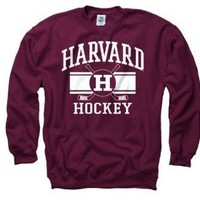 Harvard Crimson Crimson Wide Stripe Hockey Crewneck Sweatshirt