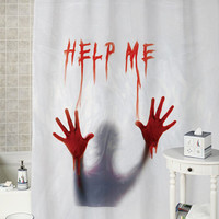 Dexter Psycho Bloody Mary:help me Halloween Decoration special shower curtains that will make your bathroom adorable.