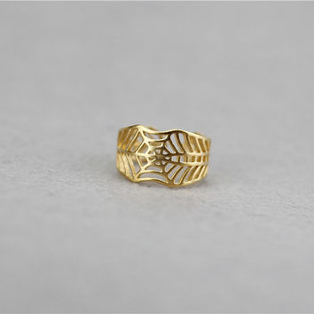 Gold Spider Web Ring, Sterling Silver Spider Ring, Handmade ring, adjustable ring,wire ring,Spider jewelry,gift for her,Cobweb ring