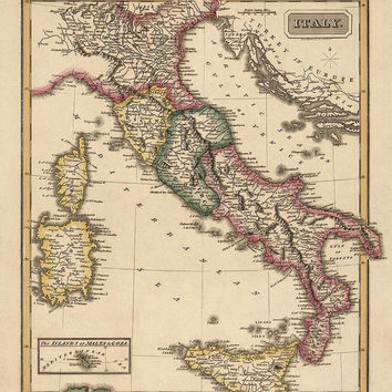 Antique Map of Italy (c1817) by Fielding Lucas - Archival Reproduction