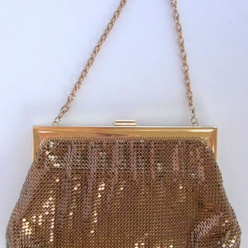 Vintage Whiting and Davis Gold Mesh Evening Bag with Rhinestone Clasp