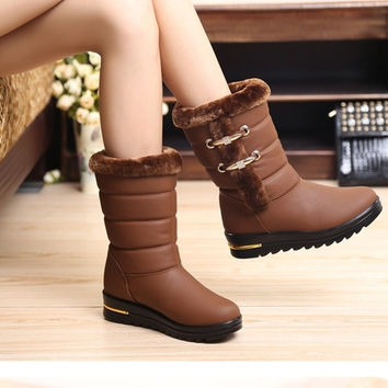 Winter snow boots big yards plush warm waterproof non-slip waterproof nubuck leather boots women waterproof boots = 1946840964