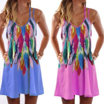 New Fashion Women Summer Casual Feather Printed Beach Dresses Women Chiffon Sleeveless Spaghetti Strap Short Mini Dress