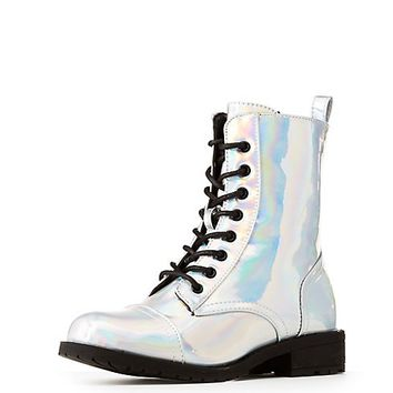 Holographic Combat Boots | Charlotte Russe