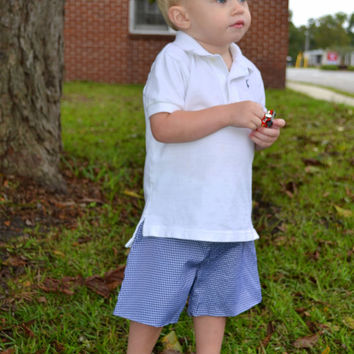 Personalized Blue Gingham Boys Shorts  - Easter - Monogrammed - Boy shorts - Dress shorts - clothing - preppy shorts