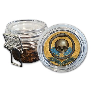 Airtight Stash Jar with Silicone Seal - Skull, Snake and Flowers  - Food-Grade Plastic with Locking Wire Top - Smell Proof Hermes Container