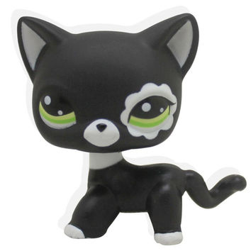 2017 New Rare Black Cat Blue Eyes Cute Kitten Littlest Pet Shop Toys Animals Kids Gift