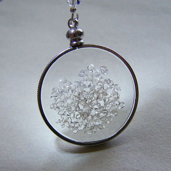 Floating Crystals Herkimer Diamond Shaker Double Sided Glass Locket Necklace