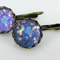Antiqued Gold-tone Blue Purple Heart Bar Glitter Glass Lever-back Earrings Hand-painted