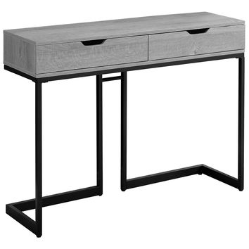 "Accent Table - 42""L / Grey/ Black Metal Hall Console"