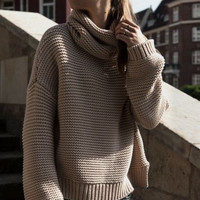 Turtleneck Side Slit Knitted Pullover Sweater