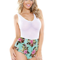 Stretch Mesh & Turquoise Tropical Print Romper