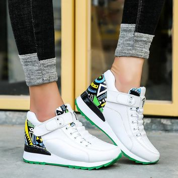 Women Casual Hook&loop Comfortable Platform Sneakers Shoes Woman