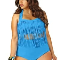 """Sao Paulo"" Plus Size Bikini Fringe Top with Underwire - Pool Blue - Swimwear - Monif C"