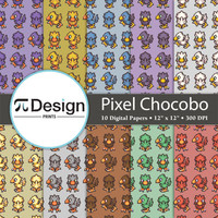 "Final Fantasy Pixel Chocobo 12""x12"" Digital Paper Pack of 10 