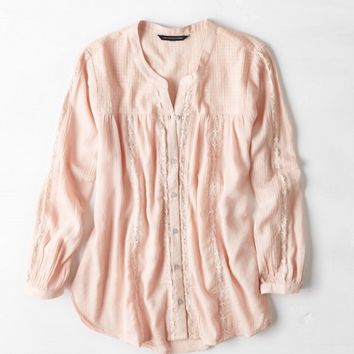 AEO LACE PANELED BUTTON DOWN SHIRT