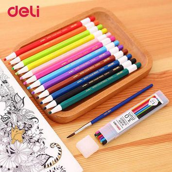 Deli 24Colors Professional Aoto watercolor Pencils Set for Drawing Painting Sketch Tin Box Art School Supplies mechanical pencil