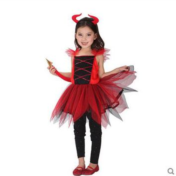 Halloween Child Clothing Female Red Devil Witch Vampire Costume Girl Cosplay Makeup Ball