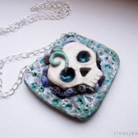 Polymer clay skull pendant necklace Goth skull statement pendant Skeleton jewelry Goth jewelry Unusual weird jewelry Day of the dead gift