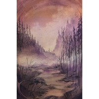 Enchanted Forest, Watercolor Painting Original Art Painting Ink Drawing Watercolor Landscape Painting Fairytale Landscape Watercolor