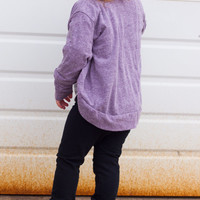 Slouchy Cardigan // Sizes: 12 m 18 m 2T 3T 4T 5T 6 7/8 9/10 11/12 // Purple Teal Yellow Blue Heather / Girls' Spring Fashion